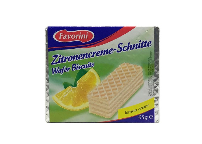 Favorini Zitronencreme - Schnitte Wafer Biscuits lemon creme